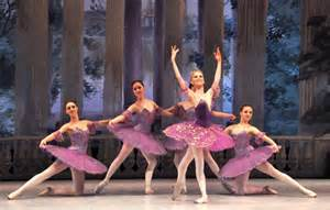 5 women dressed in purple  and white for sleeping beauty ballet